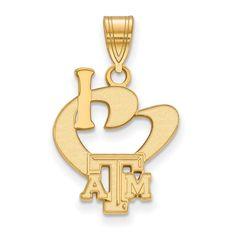 Sterling Silver w/GP LogoArt Texas A&M University Large I Love Logo Pendant