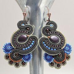 Soutache earrings Soutache Earrings, Drop Earrings, Beaded Jewelry, Handmade Jewelry, Ring Necklace, Shibori, Beaded Embroidery, Diy Fashion, Jewelery