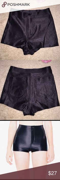 American Apparel disco shorts xs Super cute and sexy black disco shorts from American Apparel. It's in perfect condition, I only wore it for about 3hours to a rave. These are size xs and they are super stretchy.  They are high waisted and is best for sizes 23/24 waist. American Apparel Shorts