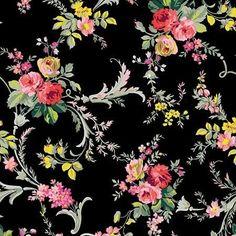 Anna Griffin Fabrics Grace Black Wildflower Scroll