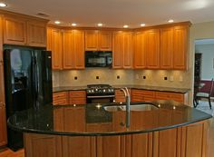 cabinets that compliment black appliances | Kitchen Tile Backsplash Remodeling Fairfax Burke Manassas Va. Design ...