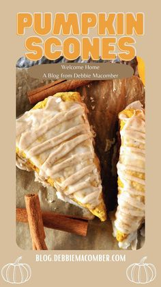 Fall Recipes, Snack Recipes, Scone Recipes, Pumpkin Recipes, Pumpkin Scones, Pumpkin Puree, Ground Cinnamon, Powdered Sugar, Unsalted Butter