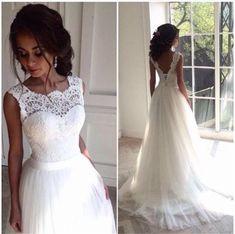 7.6 GBP - Lace Tulle White/Ivory Wedding Dress Bridal Custom Stock Size: 6-18 #ebay #Fashion