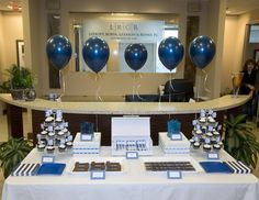 A Masculine Dessert Table & Decor....would change ribbon holding balloons to clear fishing line or dowl rods