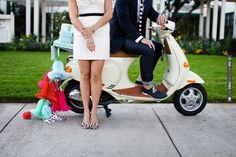 gotta love a vespa getaway!  photo by Jasmine Star | CHECK OUT MORE IDEAS AT WEDDINGPINS.NET | #weddings #uniqueweddingideas #unique