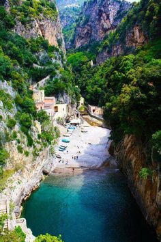 Secluded beach in Furora Amalfi, Italy