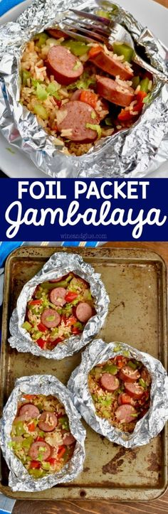 This Jambalaya Foil Packet Dinner Recipe is about 30 minutes start to finish and. This Jambalaya Foil Packet Dinner Recipe is about 30 minutes start to finish and so delicious! Make it on the grill, make it in the oven, make it over and over! Tin Foil Dinners, Foil Packet Dinners, Foil Pack Meals, Foil Packets, Hobo Dinners, Easy Dinners, Grilling Recipes, Pork Recipes, New Recipes