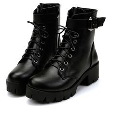 Lace Up Platform Boots (65 RON) ❤ liked on Polyvore featuring shoes, boots, black, black side zip boots, laced boots, black shoes, side zip boots and chunky lace up boots