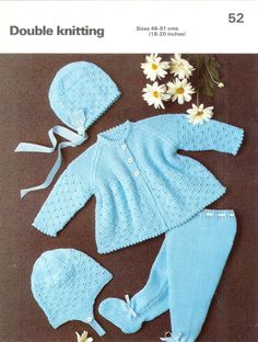 Baby Knitting Pattern Phildar 52 DK Pram Set 18-20ins 8ply