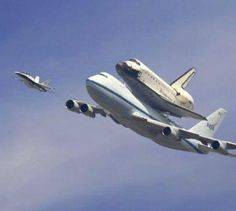 The space shuttle Endeavour on it's final flight with F-18 chase