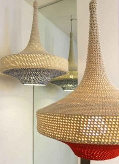 crochet pendant lamps 400x553 16 Crochet Lamps That Will Shed a New Light on Your Space