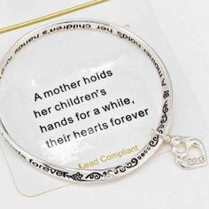 "Mother and Child Antiqued Bracelet This is a beautiful antiqued twisted silver tone bracelet with a special message for Moms. There is a mother & child silver tone heart charm with cubic zirconia. Diameter is 2.5"". Jewelry Bracelets"