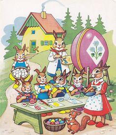 Vintage Cards, Vintage Postcards, Happy Easter, Easter Bunny, Easter Illustration, Scandinavian Folk Art, Easter Parade, Easter Printables, Vintage Easter
