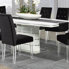 Worldwide Homefurnishings Inc. Cavalli Crystal-studded Velvet Dining Chairs with Acrylic Legs (Set of Dining Set, Dining Chairs, Dining Table, Dining Room, Black Countertops, Chair Backs, White Cabinets, Side Chairs, Decorative Throw Pillows