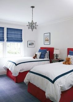 navy bordered bedding with red accent by silver16