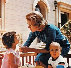 Princess Grace of Monaco with her children Princess Caroline and Crown Prince Albert. Photographed by Howell Conant for Look Magazine, August 18, 1959.