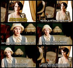 """....our shared memories will mean more than our mutual dislike."" .. Downton Season 6, Mary and Edith .."