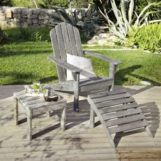 Liegestuhl aus Akazienholz, taupe
