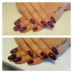 #gel #nail #gelnails #darkrednails #glitter #love #rednails #beauty #nailwow