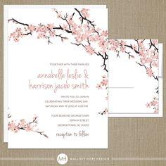 pink and navy love bird cherry blossom wedding card   cherries, Wedding invitations