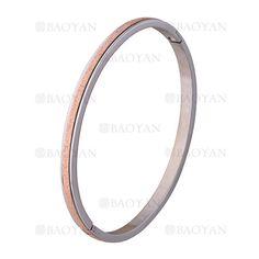 pulsera plateado rayas rosado brillo en acero inoxidable - SSBTG1225560