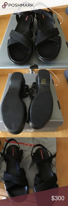 🎉HP🎉 Prada Nastro Nylon Sandals Worn once. No visible wear. Comes with authenticity cards, Prada box, and dust bag.   🚫 No Trades ✅ Reasonable Offers considered  🚭 Pet free, smoke free home Prada Shoes Sandals