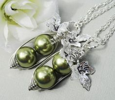 Set Of Two Green  Silver Peas In A Pod by ThePeasInAPodShop, $35.00