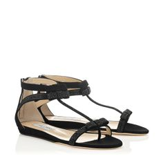 Jimmy Choo - Sundown - 133sundownscx - Black Suede Sandals with Hotfix Crystals