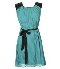 Roaring 20s Embellished Shoulder Pleated Chiffon Dress in Emerald