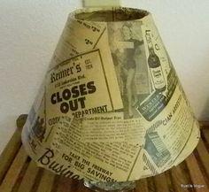 1954 Hollywood Newspaper Embellished Lamp Shade by RustIsVogue, $35.00
