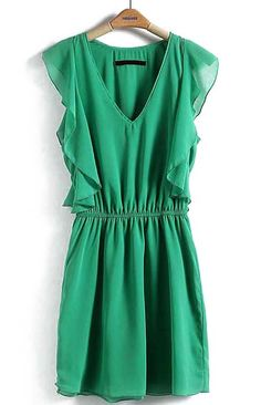 Green V Neck Sleeveless Ruffles Bandeau Dress