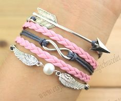 Arrows bracelet, infinity and wing bracelet, antique silver, gray line, pink leather, bridesmaid gifts on Etsy, $4.99