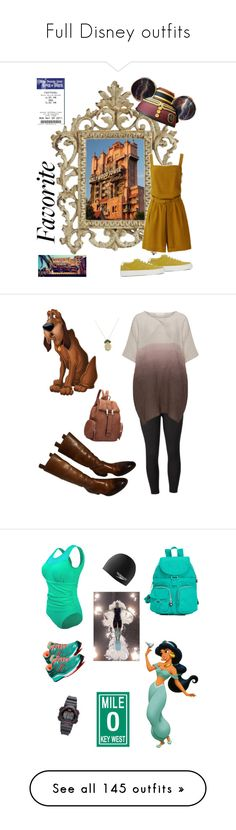 """""""Full Disney outfits"""" by fandom-fashion-lover ❤ liked on Polyvore featuring Disney, Uniqlo, YMC, Venus, Gucci, Dasein, Anton Heunis, plus size clothing, Kipling and Saucony"""