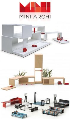 A Belgian brand created by a couple of architect-designers parents, MINI ARCHI - miniarchi.com - breaks the mould when it comes to doll houses. Designed to su