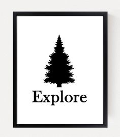 """Our Exploreartprint features our big pine tree. Perfect for a camping, woodland or rustic nursery or kids bedroom. Perfect way to add inspiration to your baby's nursery. Available in white, gray and light tan.**Please Note - this print can done in any color scheme, indicate colors in the """"special instructions"""" box. Coordinates with our WoodlandField Guide Series As shown in the last picture, the complete set can be purchasedhere"""