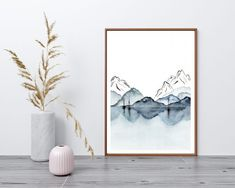 affiche montagne lac aquarelle moderne Tapestry, Home Decor, Mountain, Posters, Modern, Hanging Tapestry, Tapestries, Decoration Home, Room Decor