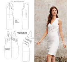 White-hot dress pattern to draft from Mod@ en linea.Inspiration for me to use when I'm exploring flat pattern drafting.Must make for ItWorks LimeLite Conference in JanLooks like a Vogue pattern. Find images and videos about moda, dress and moldes on Sewing Patterns Free, Clothing Patterns, Dress Patterns, Diy Clothing, Sewing Clothes, Dress Sewing, Fashion Sewing, Diy Fashion, Modelista