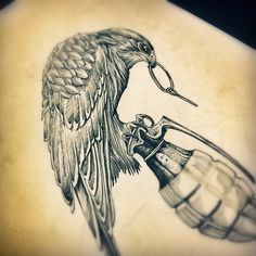 "225 Likes, 10 Comments - Jack Anderson (@jacknight_) on Instagram: ""Click... BOOMM!!! #draw #drawing #desenho #dibujo #birdofprey #bird #animal #war #grenade…"""