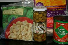 chicken breast, artichoke hearts, olives & tomatoes - put it in frozen! yay!