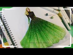 Fashion Illustration Painting for Beginners (Easy version) Ombre Dress YouTu Dress Design Drawing, Dress Design Sketches, Dress Drawing, Fashion Design Sketches, Fabric Painting On Clothes, Dress Painting, Painted Clothes, Elie Saab, Dress Illustration