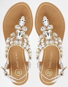 River Island | River Island Really Embellished Flat Sandals at ASOS