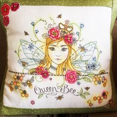 Hannah Whites beautiful version of Pink Ink's embroidery pattern, beautifully stitched onto a cushion.