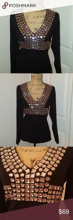 INC sweater top This is new never worn. This is amazing. Beautiful studded top. Wonderful on. Light knit weight sweater. INC International Concepts Tops Blouses