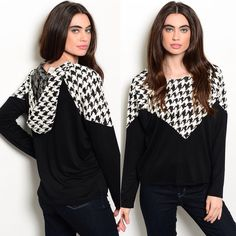This top features long sleeves, a crew neckline and houndstooth panel design.-- Spring Summer Fall Winter Fashion. www.psiloveyoumoreboutique.com