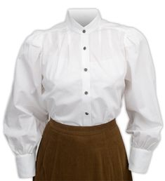Vintage Ladies White Cotton Solid Band Collar Blouse   Romantic   Old Fashioned   Traditional   Classic    Victorian Ladies Blouse - White