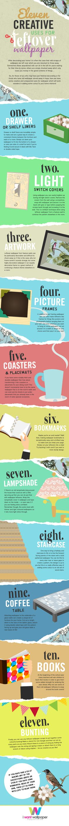 Uses for Leftover Wallpaper Infographic~ From I Want Wallpaper