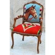 Antique Chair with Vintage Serape & Horse Needlepoint  Totem