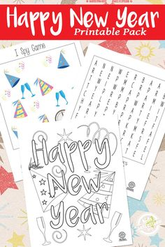Year Printables New Year Printables - fun printables for a New year!New Year Printables - fun printables for a New year! New Year's Eve Activities, Printable Activities For Kids, Printable Worksheets, Family Activities, New Year Coloring Pages, Cool Coloring Pages, Kids New Years Eve, New Years Eve Party, New Year's Eve Crafts
