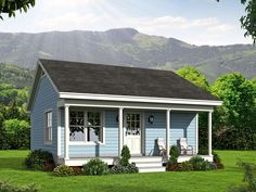062H-0039: Tiny House Plan with Covered Porch is Ideal Vacation Home; 561 sf