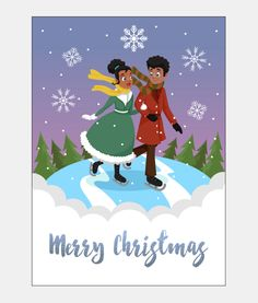 Send this stunning African American Christmas Card featuring a beautiful couple ice skating with a winter background. A Sweet Berry Lane exclusive.